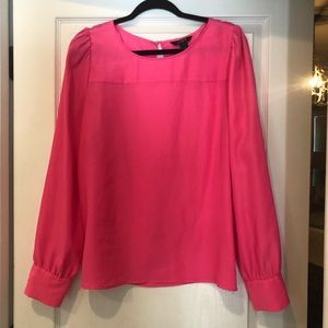 J CREW FACTORY hot pink blouse size large